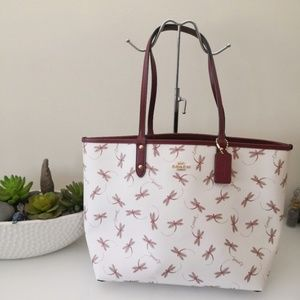 COACH Reversible City Tote Dragon Fly Print